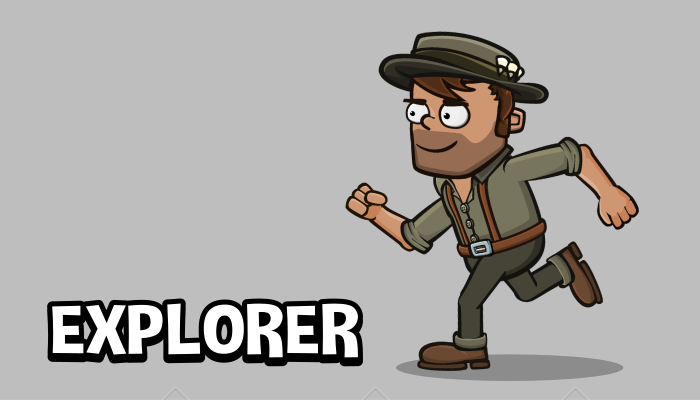 Animated explorer 2d game character