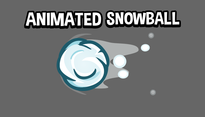 Animated snowball game projectile