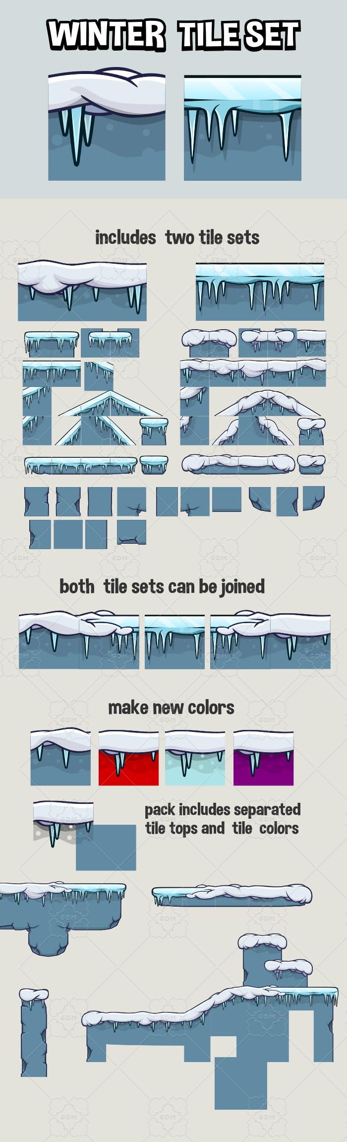 Winter 2d game tile set