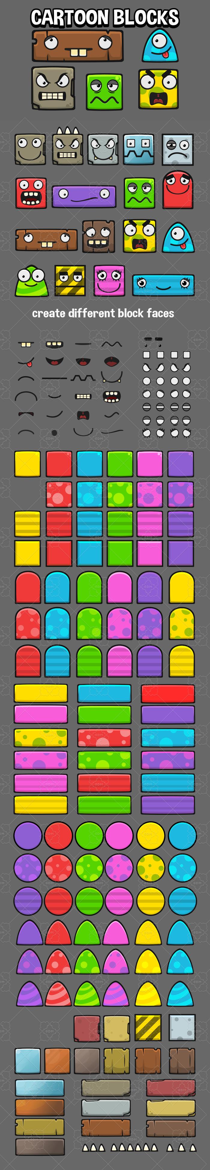 Cartoon block faces game assets