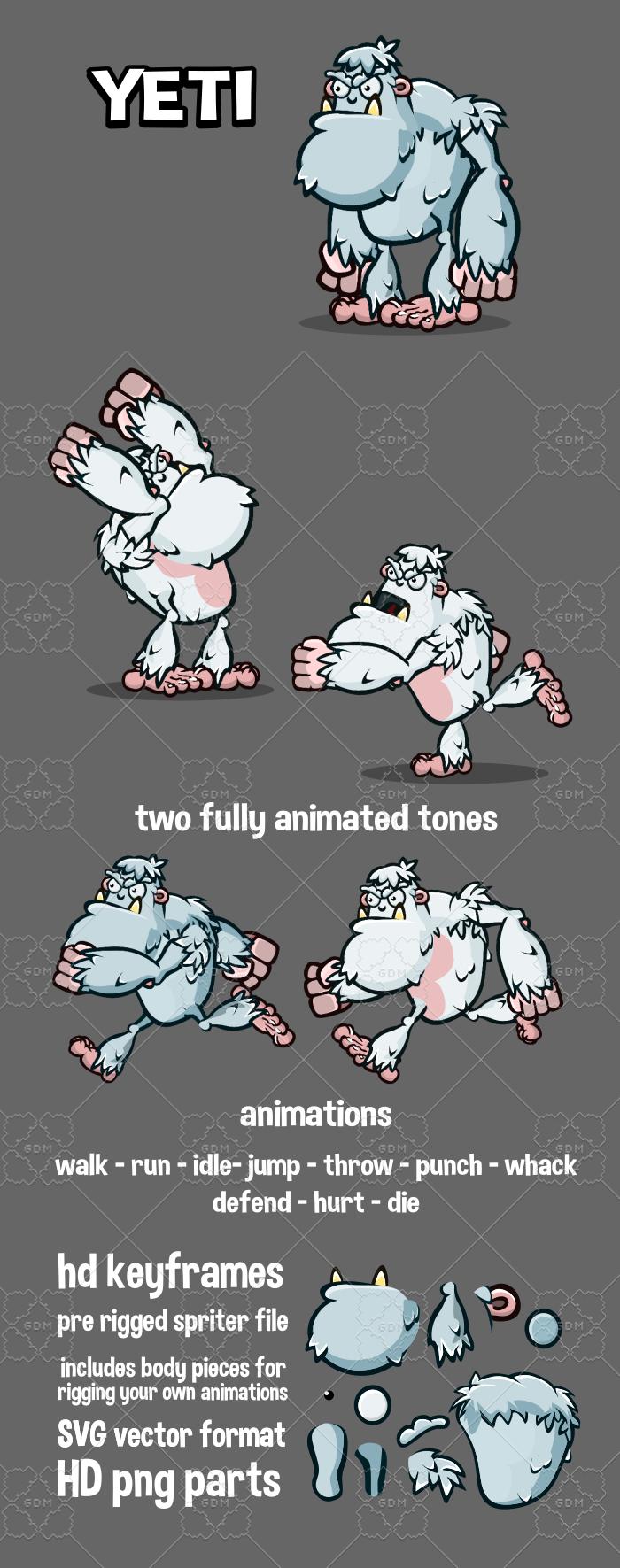 2d animated yeti game asset