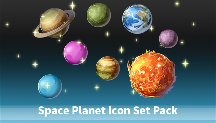 Space Planet Icon Set Pack