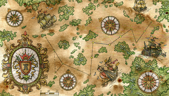 Ancient pirate map with old ships and unknown islands