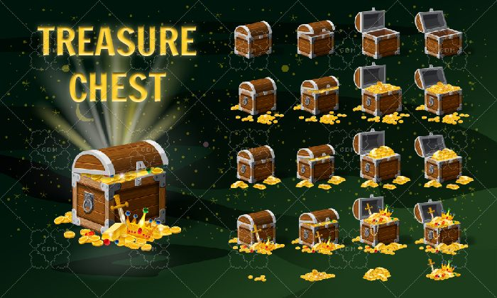 Set of chests of gold, coins, bars and treasures, closed and open