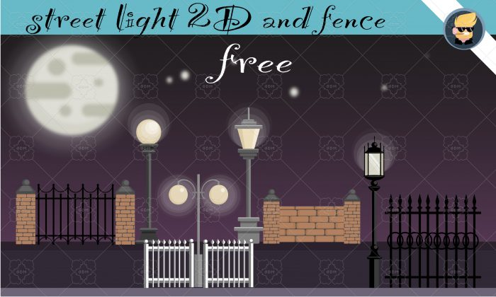 "GAME PACK 2D ""STREET LIGHT AND FENCE"""