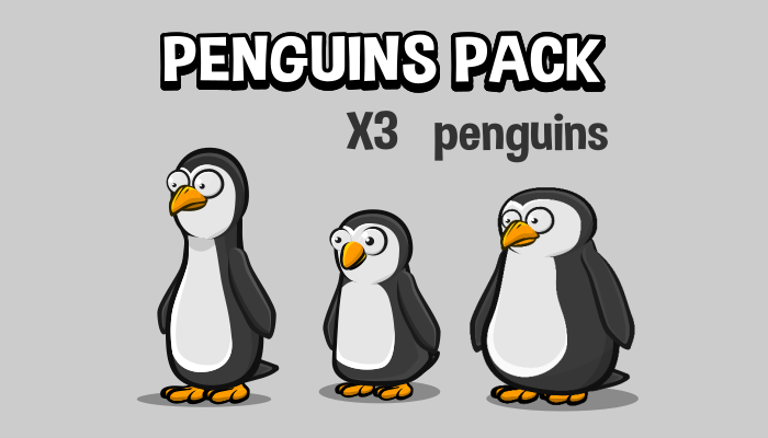 Three Animated penguin 2d game sprites