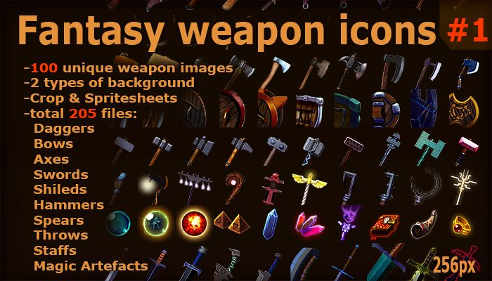 Fantasy weapon icons set