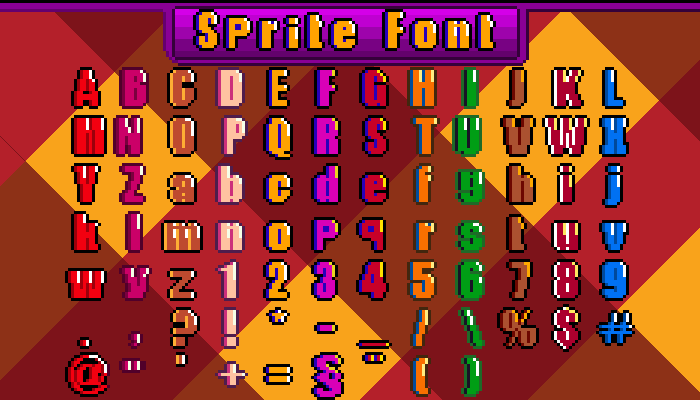 Sprite Font 16/32/64Bit