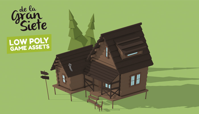 3D Cabin House Low Poly Asset