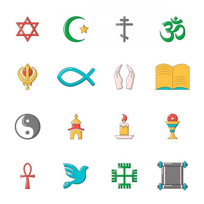 Religion icons set, cartoon style