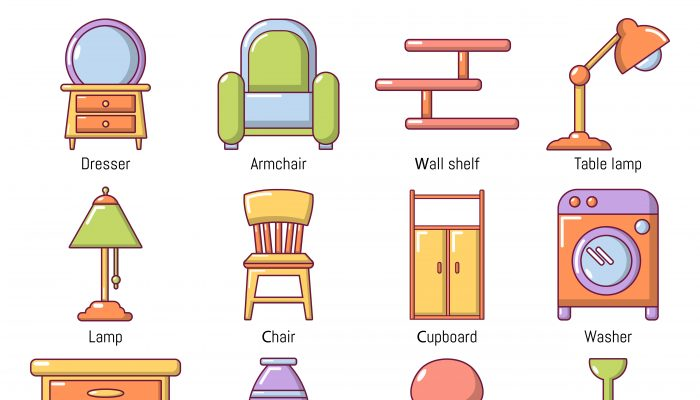 Interior furniture icons set, cartoon style