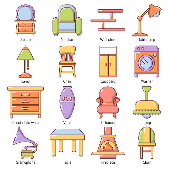 Interior furniture icons set, cartoon style