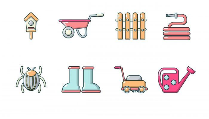 Gardener icons set, cartoon style