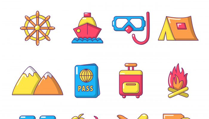 Travel summer icons set, cartoon style