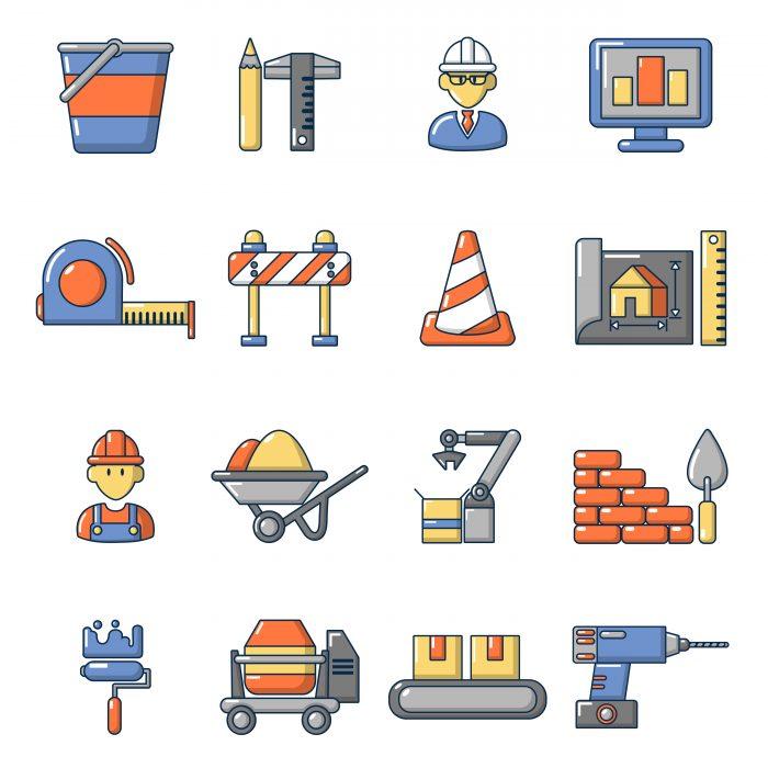 Building process icons set, cartoon style