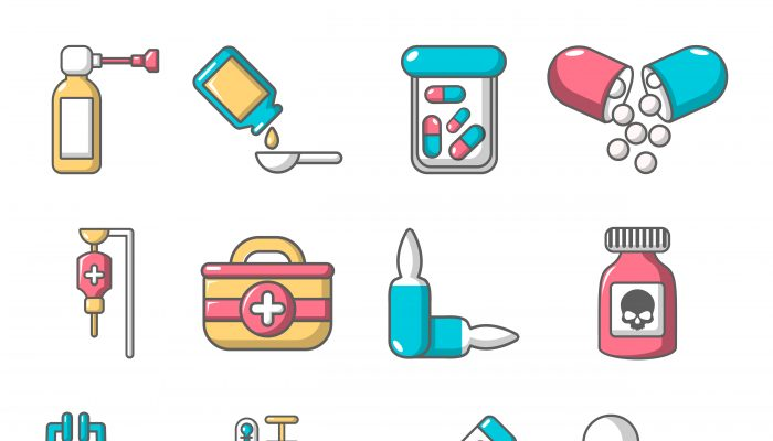 Drug medicine icons set, cartoon style