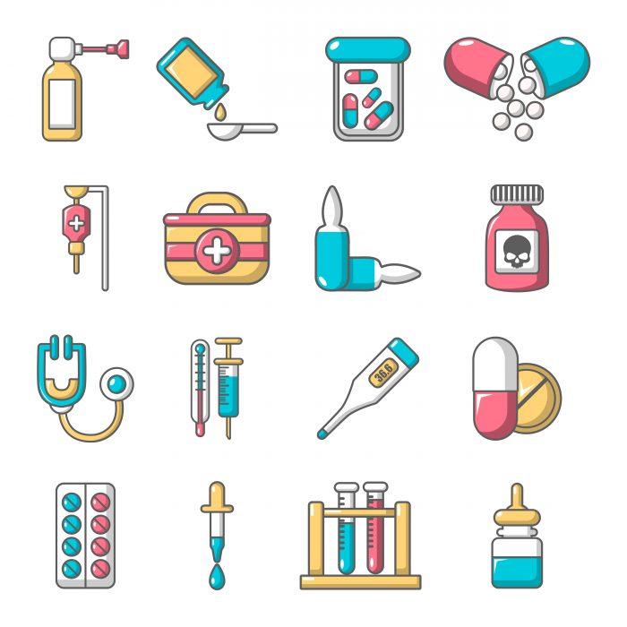Drug medicine icons set, cartoon style