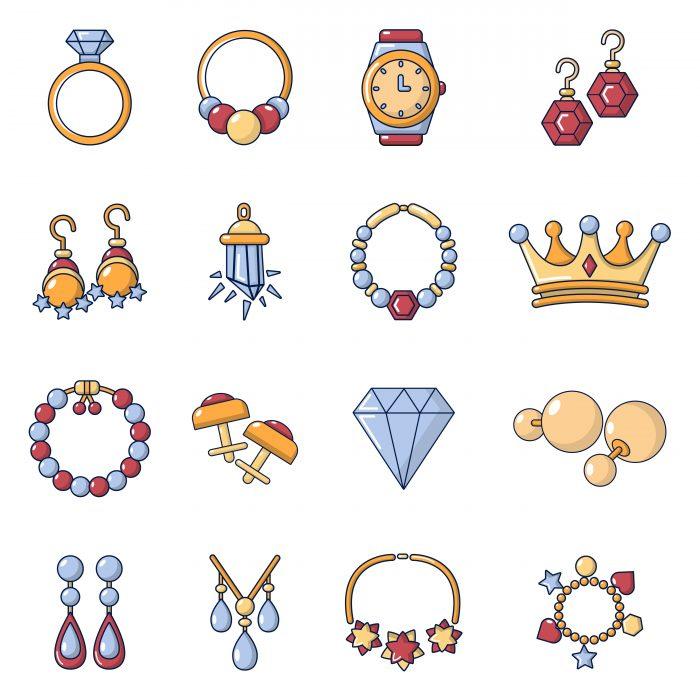 Jewelry shop icons set, cartoon style