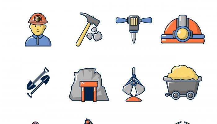 Mining minerals business icons set, cartoon style