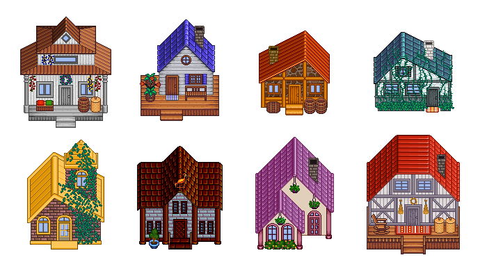 Pixel Art Village Buildings