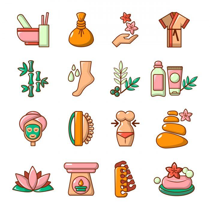 Spa salon icons set, cartoon style