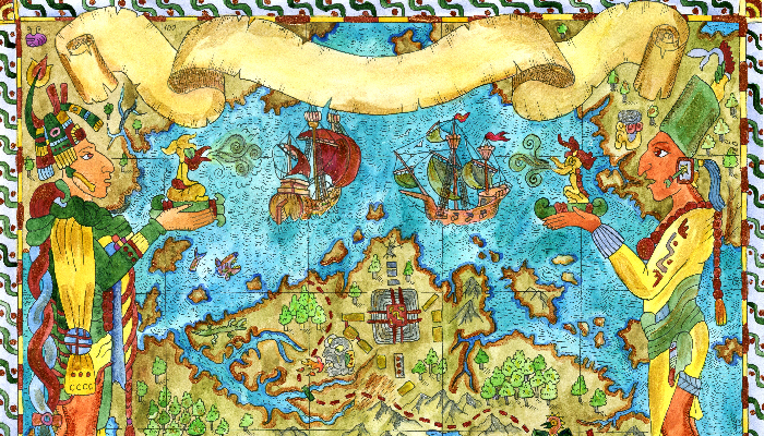 Maya and Aztecs ancient map of treasures