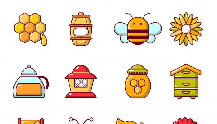 Apiary honey icons set, cartoon style