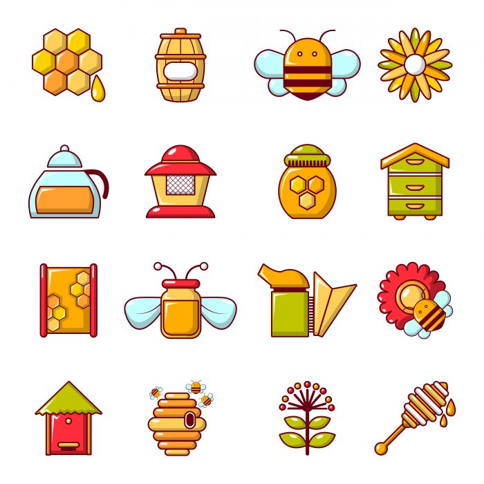Apiary honey icons set, cartoon style