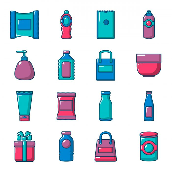 Packaging store shop icons set, flat style