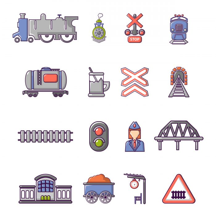 Train railroad icons set, cartoon style