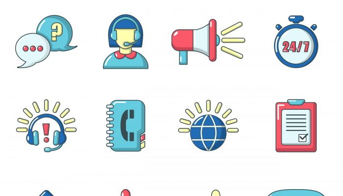 Call center icons set, cartoon style