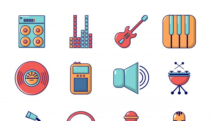 Recording studio symbols icons set, cartoon style