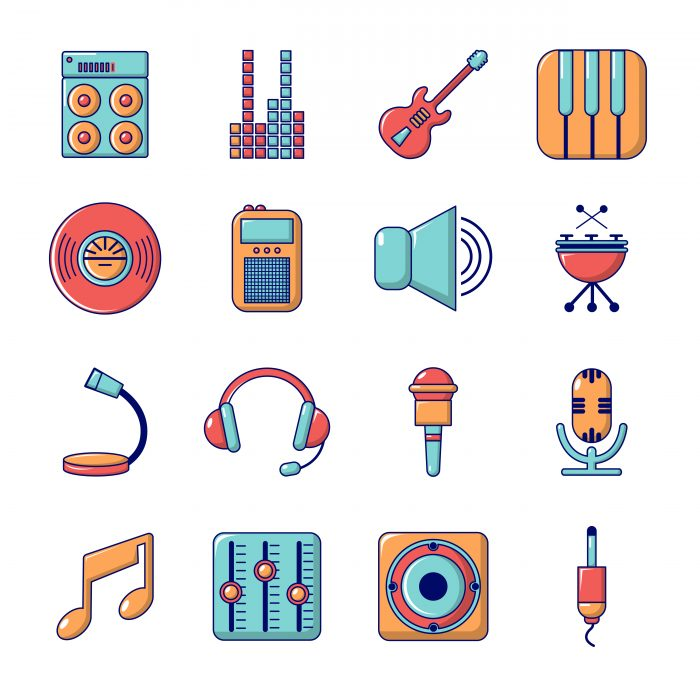 Recording studio symbols icons set, cartoon style