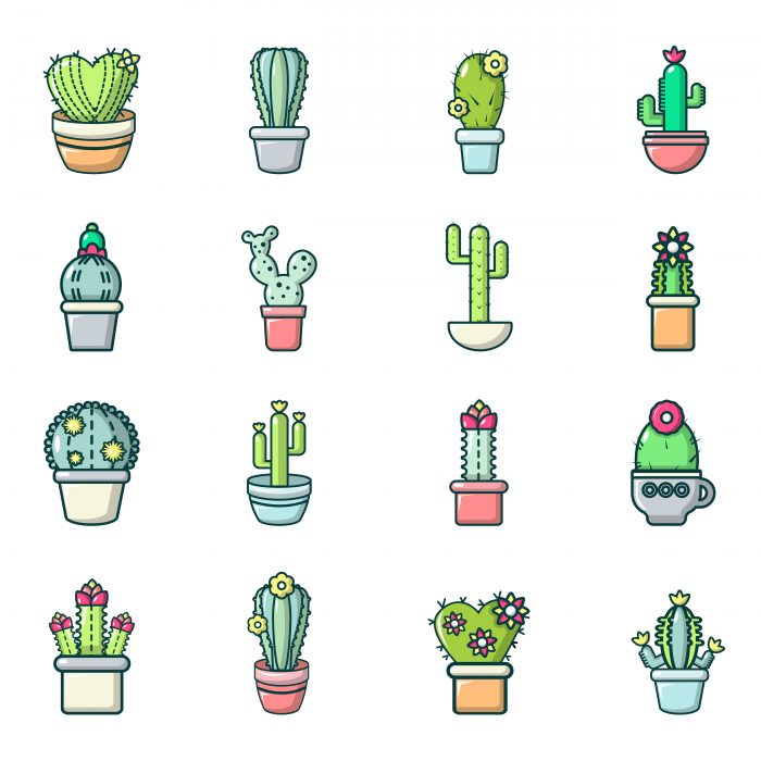 Cactus flower icons set, cartoon style