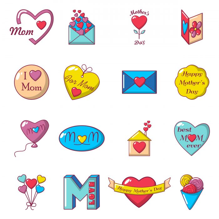 Mother Day icons set, cartoon style
