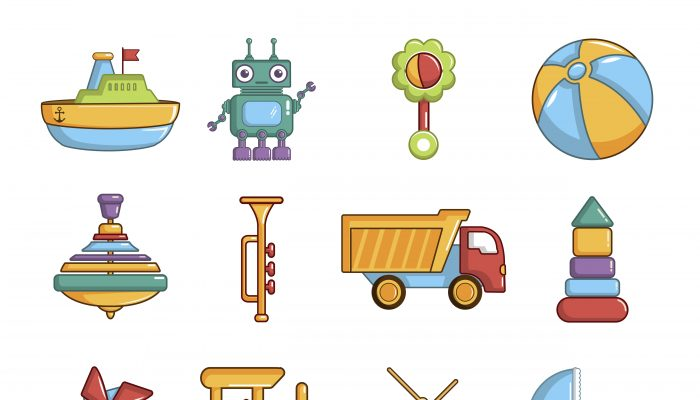 Kids toys icons set, cartoon style