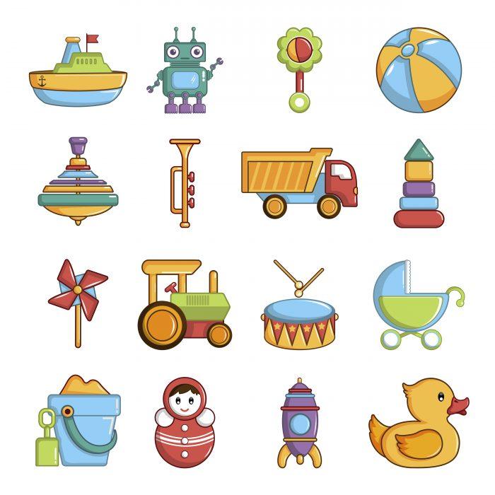 Kids toys icons set, cartoon style