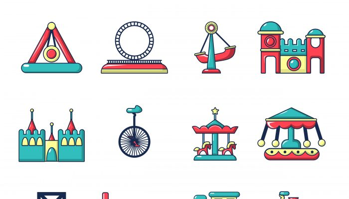 Amusement park icons set, cartoon style