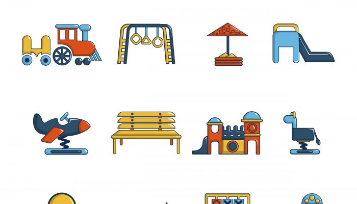 Playground equipment icons set, cartoon style