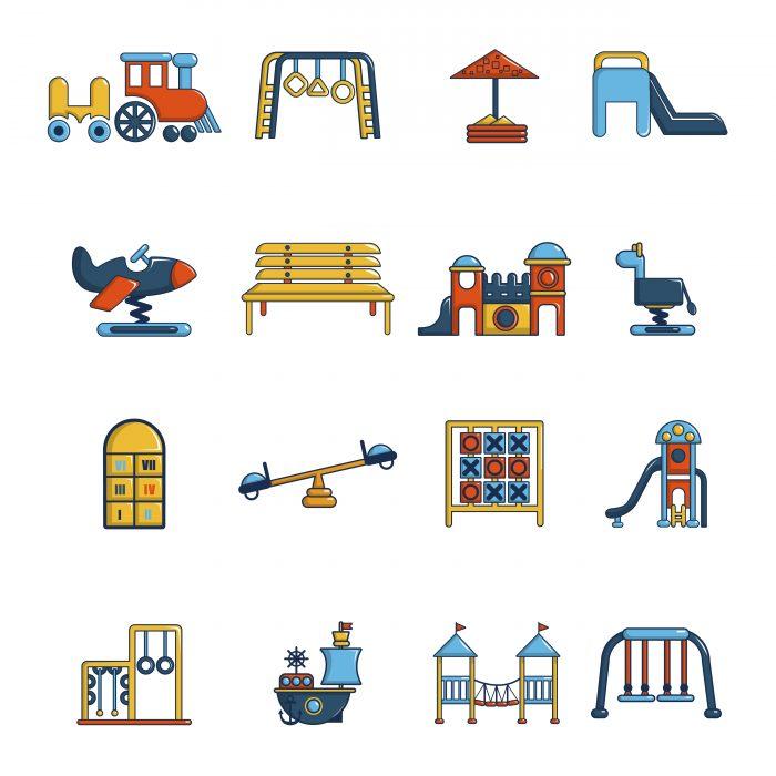 Playground equipment icons set, cartoon style