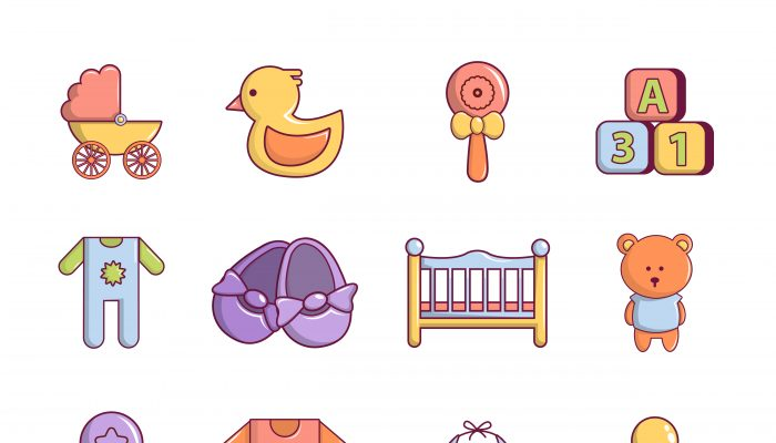 Baby born icons set, cartoon style