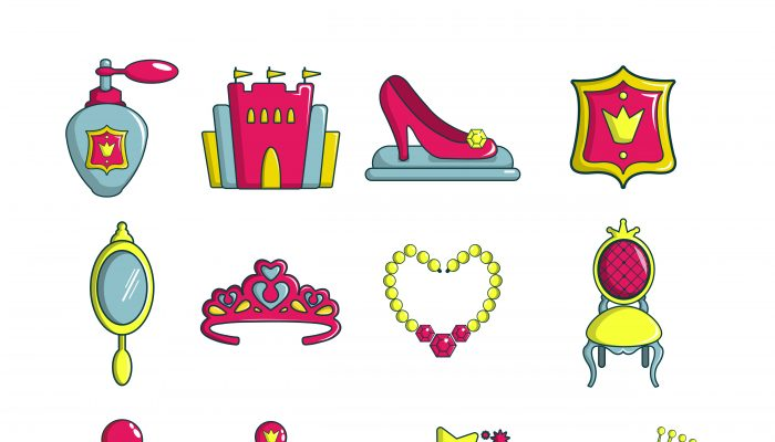 Princess doll icons set, cartoon style