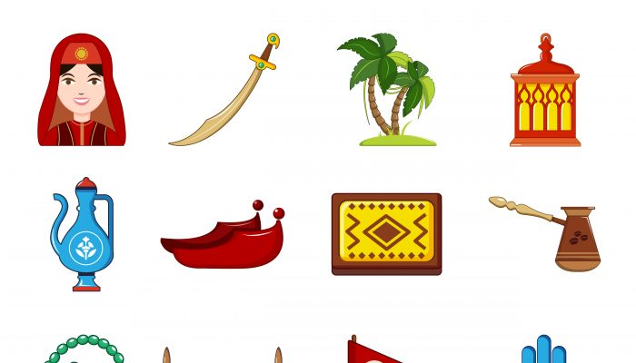 Turkey travel icons set, cartoon style