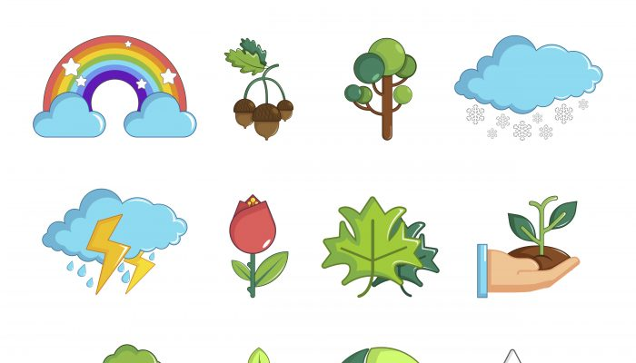 Nature icons set symbols, cartoon style