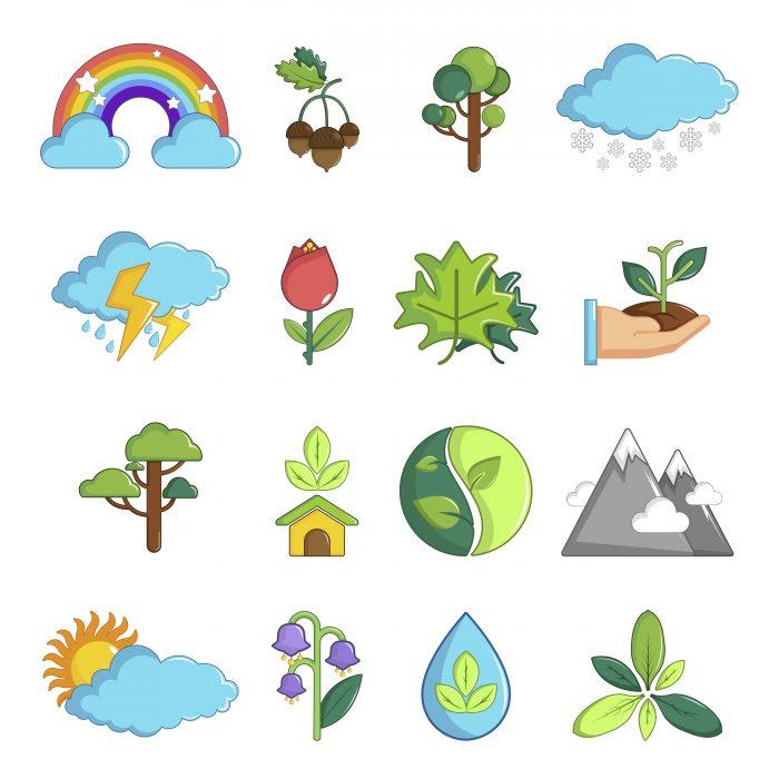 Nature icons set symbols, cartoon style