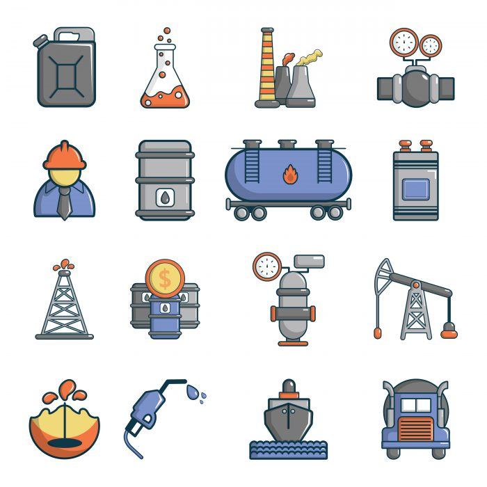 Oil industry icons set, cartoon style