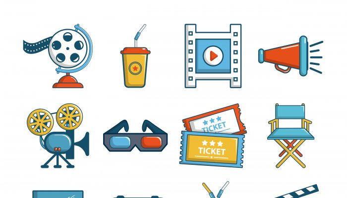 Cinema icons set symbols, cartoon style