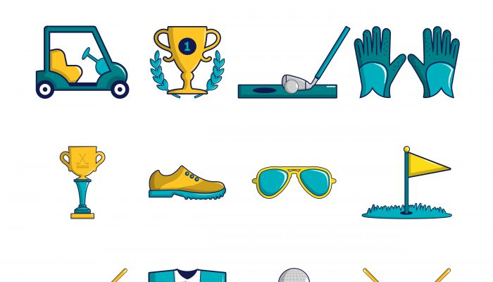 Golf icons set symbols, cartoon style
