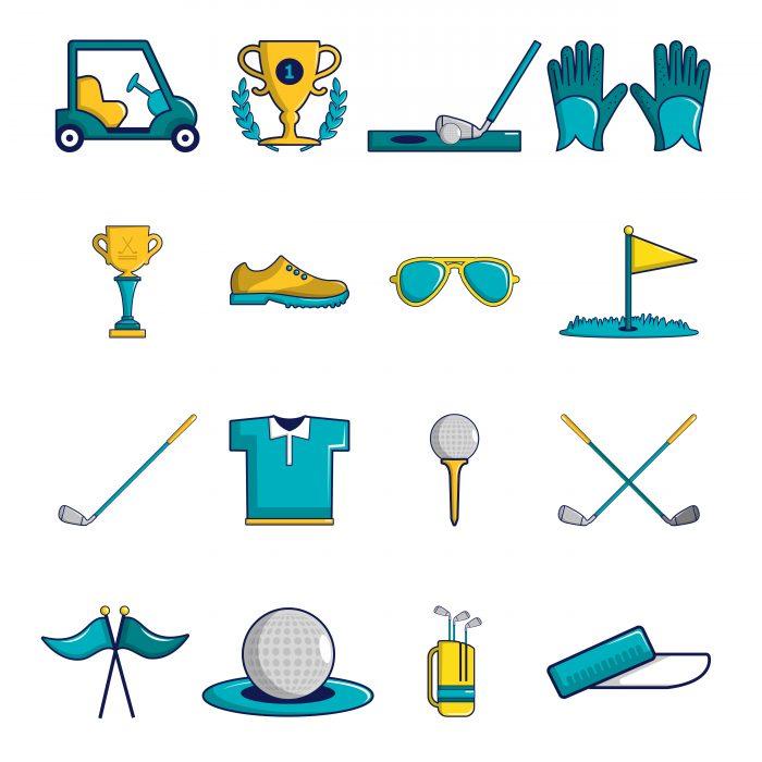 Golf icons set symbols, cartoon style
