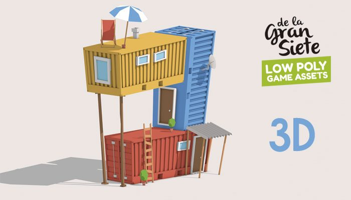 3D Container House Low Poly